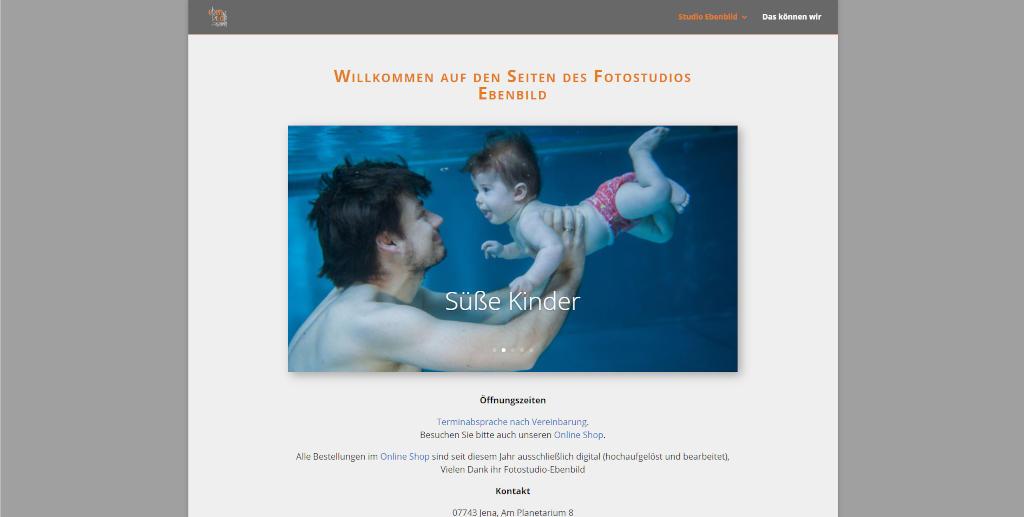 Screenshot der Webseite des Fotostudio-Ebenbild in Jena