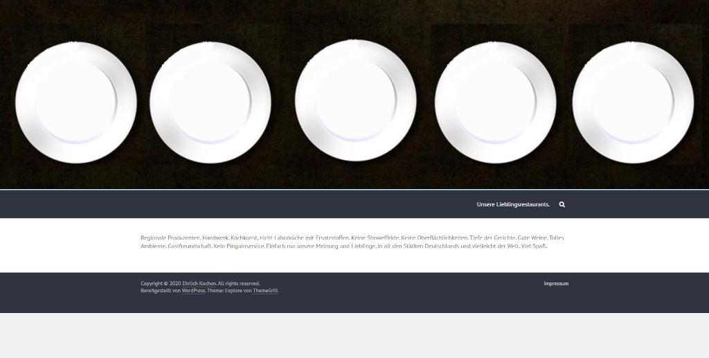 Screenshot der Webseite Ehrlich Kochen