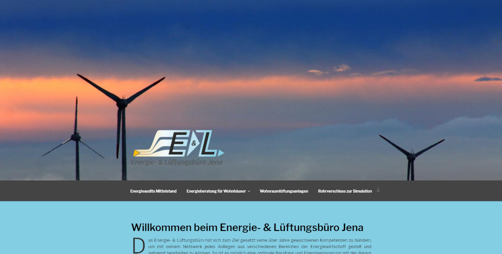 Screenshot der Webseite des Energie- & Lüftungsbüros Jena