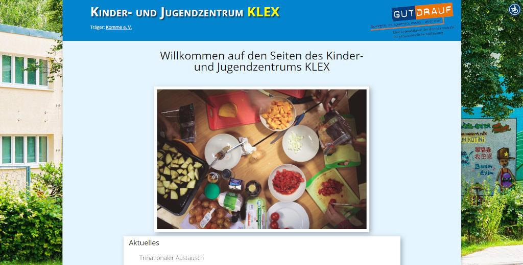 Screenshot der Webseite des Kinder- und Jugendzentrums KLEX aus Jena